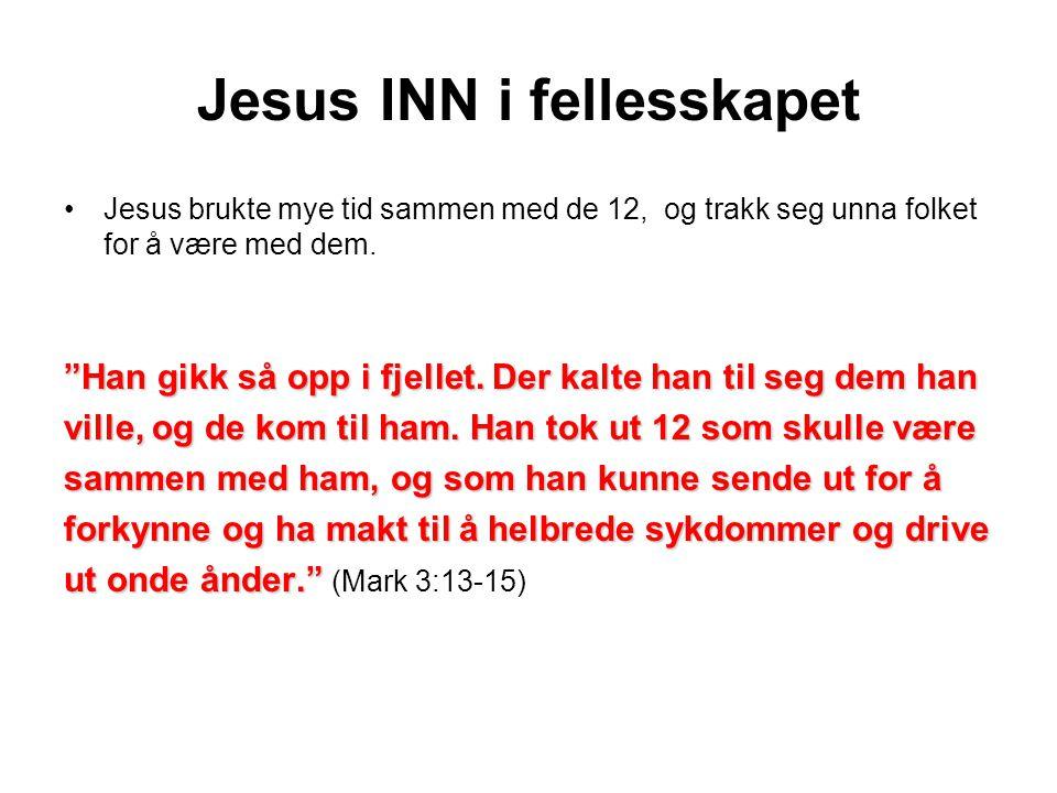 Jesus INN i fellesskapet •Jesus brukte mye tid sammen med de 12, og trakk seg unna folket for å være med dem.