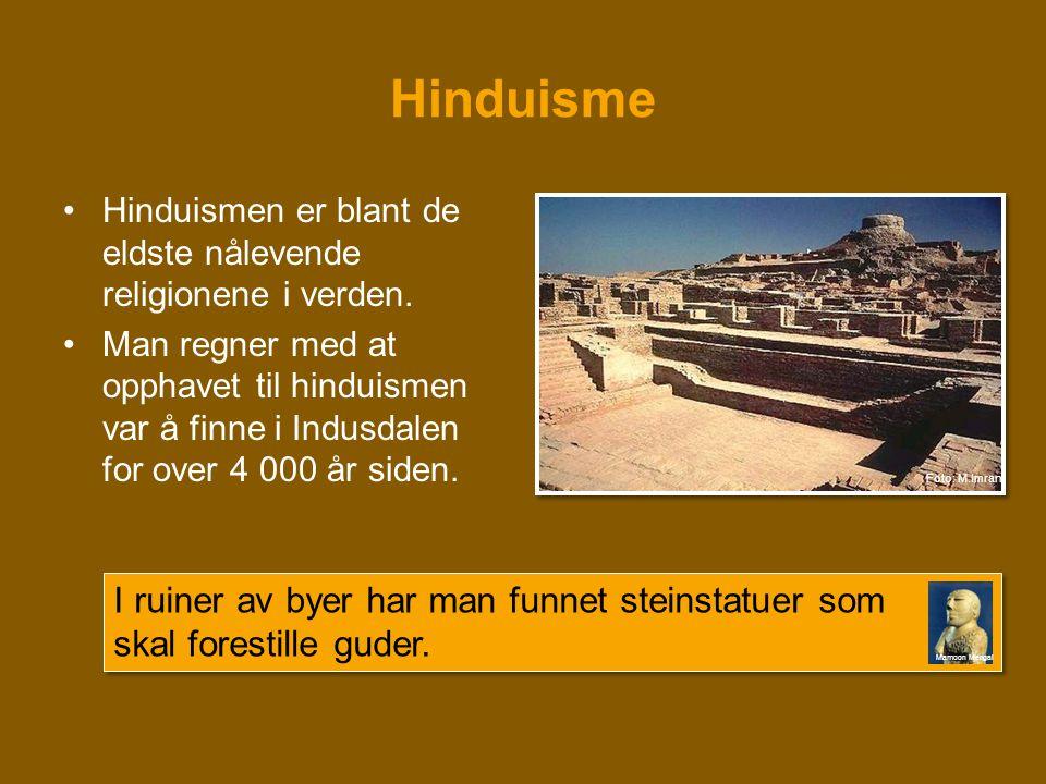 Hinduisme •Hinduismen er blant de eldste nålevende religionene i verden. •Man regner med at opphavet til hinduismen var å finne i Indusdalen for over