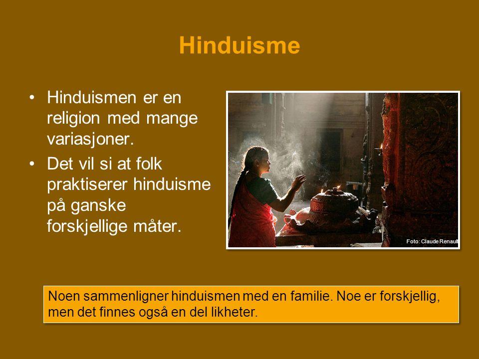 Hinduisme •Hinduismen er en religion med mange variasjoner. •Det vil si at folk praktiserer hinduisme på ganske forskjellige måter. Noen sammenligner