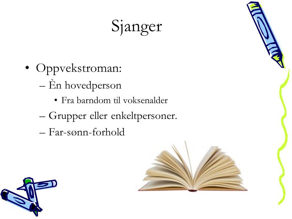 Sjanger •Oppvekstroman: –Èn hovedperson •Fra barndom til voksenalder –Grupper eller enkeltpersoner. –Far-sønn-forhold