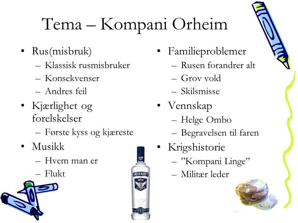 Tema – Kompani Orheim •Rus(misbruk) –Klassisk rusmisbruker –Konsekvenser –Andres feil •Kjærlighet og forelskelser –Første kyss og kjæreste •Musikk –Hv