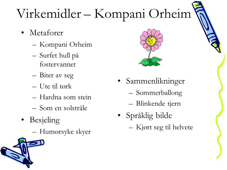 Virkemidler – Kompani Orheim •Metaforer –Kompani Orheim –Surfet hull på fostervannet –Biter av seg –Ute til tørk –Hardna som stein –Som en solstråle •