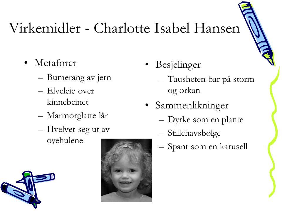 Virkemidler - Charlotte Isabel Hansen •Metaforer –Bumerang av jern –Elveleie over kinnebeinet –Marmorglatte lår –Hvelvet seg ut av øyehulene •Besjelin