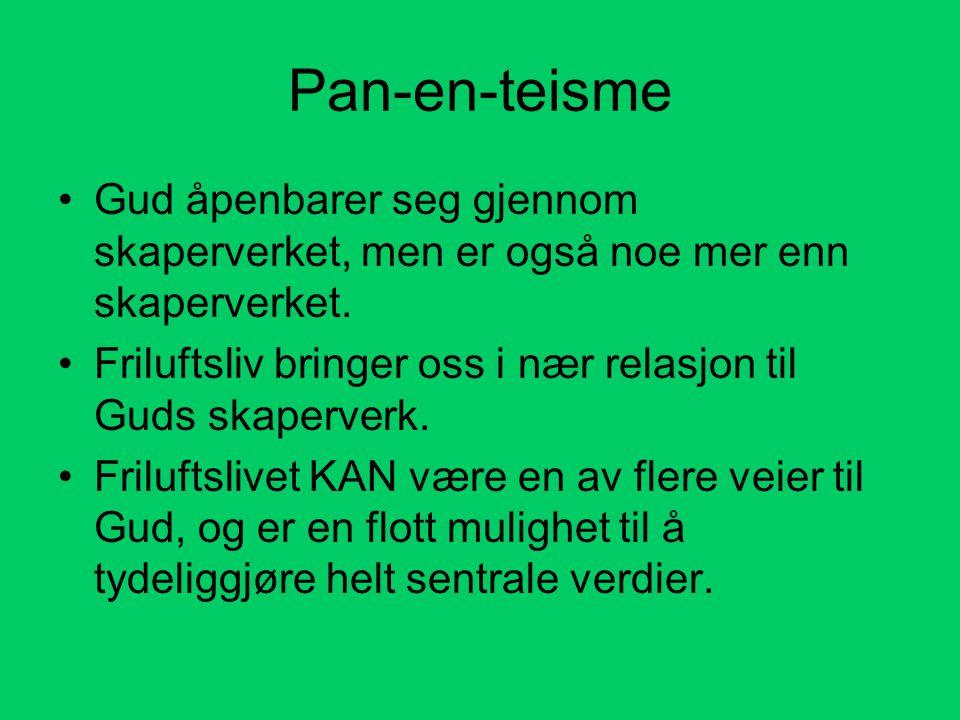Pan-en-teisme •Gud åpenbarer seg gjennom skaperverket, men er også noe mer enn skaperverket. •Friluftsliv bringer oss i nær relasjon til Guds skaperve