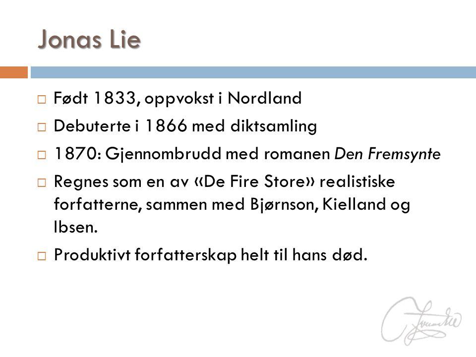  Født 1833, oppvokst i Nordland  Debuterte i 1866 med diktsamling  1870: Gjennombrudd med romanen Den Fremsynte  Regnes som en av «De Fire Store»