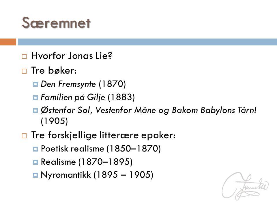 Særemnet  Hvorfor Jonas Lie?  Tre bøker:  Den Fremsynte (1870)  Familien på Gilje (1883)  Østenfor Sol, Vestenfor Måne og Bakom Babylons Tårn! (1