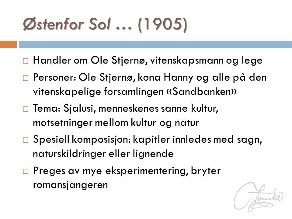 Østenfor Sol … (1905)  Handler om Ole Stjernø, vitenskapsmann og lege  Personer: Ole Stjernø, kona Hanny og alle på den vitenskapelige forsamlingen