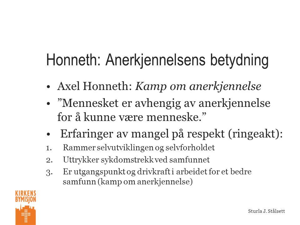 """Sturla J. Stålsett Honneth: Anerkjennelsens betydning •Axel Honneth: Kamp om anerkjennelse •""""Mennesket er avhengig av anerkjennelse for å kunne være m"""