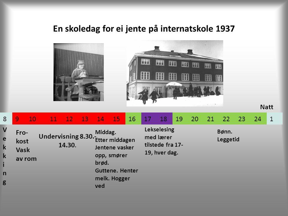 En skoledag for ei jente på internatskole 1937 891011121314151617181920212223241 VekkingVekking Undervisning 8.30.- 14.30.