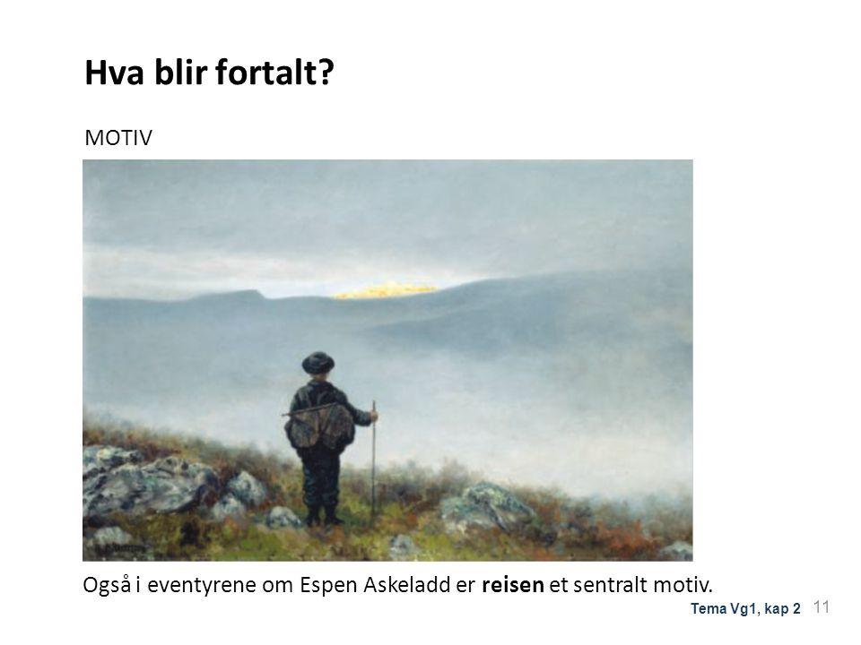 Hva blir fortalt.MOTIV Også i eventyrene om Espen Askeladd er reisen et sentralt motiv.