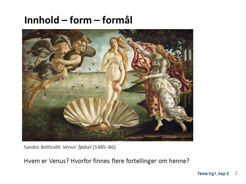 Innhold – form – formål Sandro Botticelli: Venus fødsel (1485–86) Hvem er Venus.