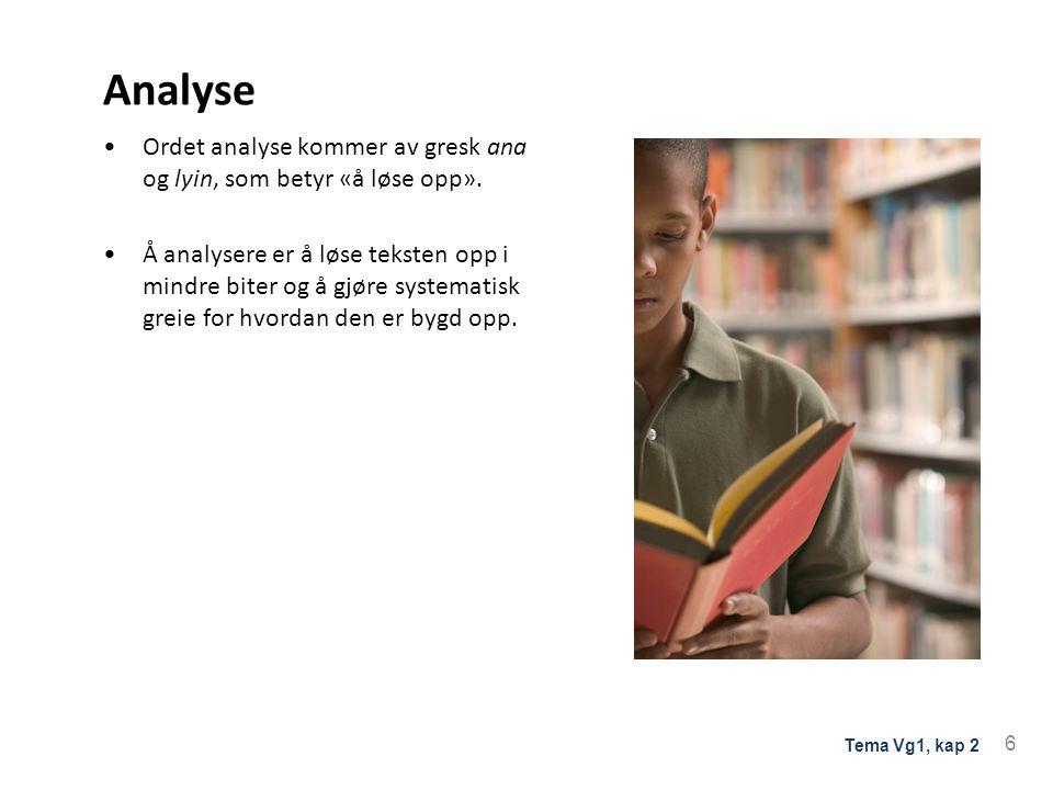 Analyse av tekstens innhold MOTIV •konkret •stoffet som forfatteren bruker TEMA •abstrakt •tanker som teksten utforsker 7 Tema Vg1, kap 2