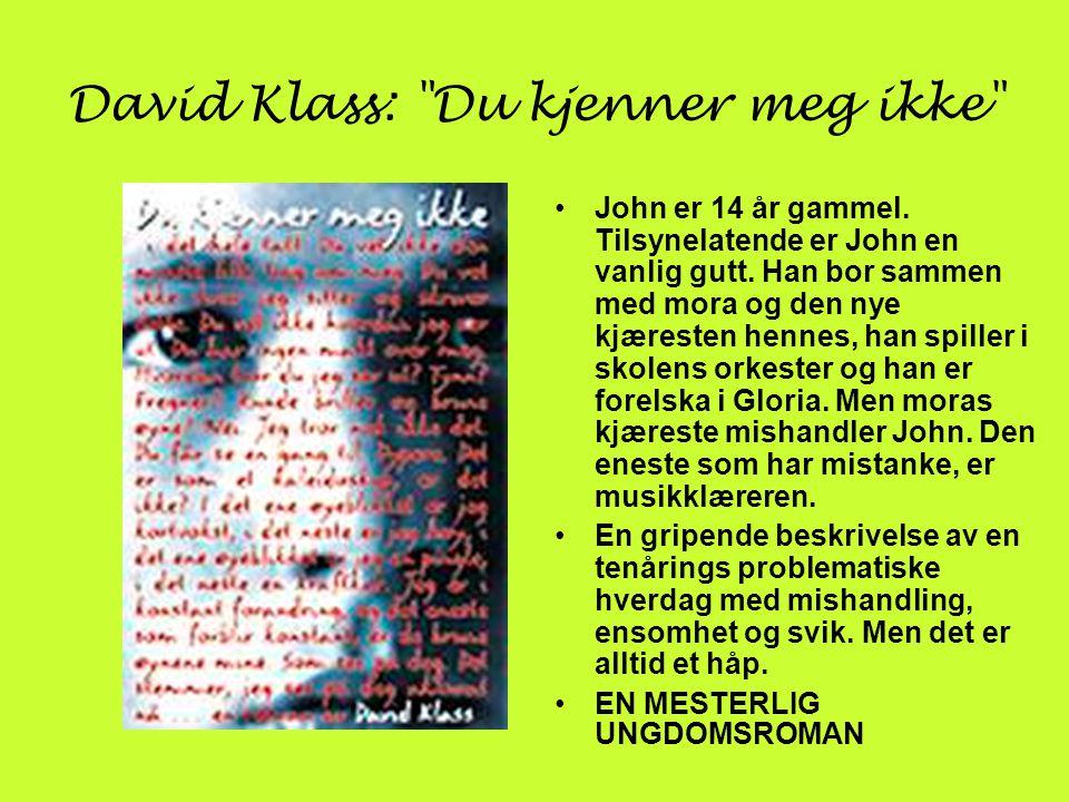 David Klass: Du kjenner meg ikke •John er 14 år gammel.