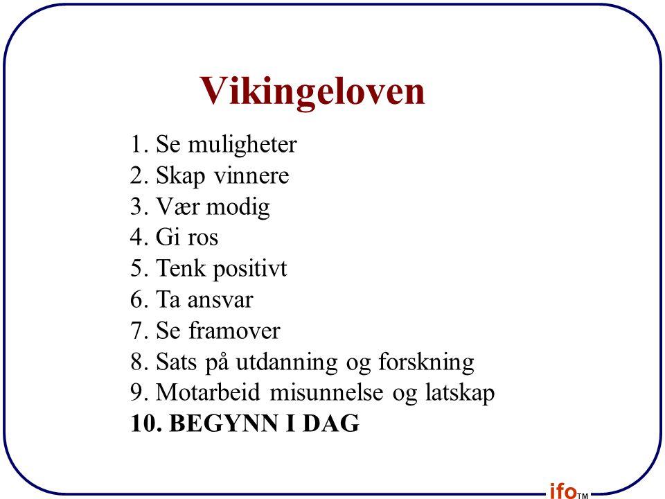 ifo TM Vikingeloven 1. Se muligheter 2. Skap vinnere 3. Vær modig 4. Gi ros 5. Tenk positivt 6. Ta ansvar 7. Se framover 8. Sats på utdanning og forsk