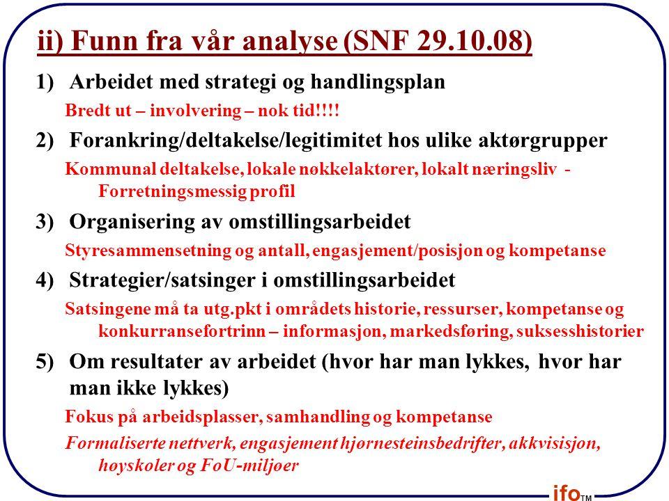ifo TM ii) Funn fra vår analyse (SNF 29.10.08) 1)Arbeidet med strategi og handlingsplan Bredt ut – involvering – nok tid!!!! 2)Forankring/deltakelse/l