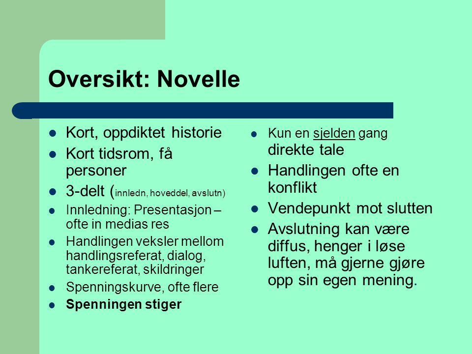 Oversikt: Novelle  Kort, oppdiktet historie  Kort tidsrom, få personer  3-delt ( innledn, hoveddel, avslutn)  Innledning: Presentasjon – ofte in m