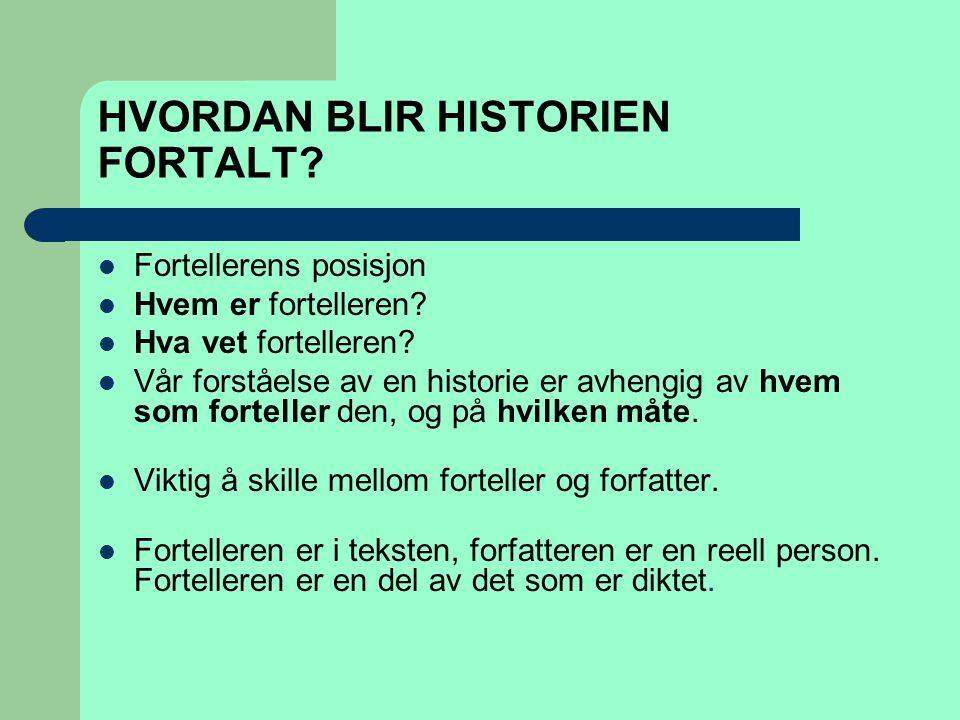 HVORDAN BLIR HISTORIEN FORTALT?  Fortellerens posisjon  Hvem er fortelleren?  Hva vet fortelleren?  Vår forståelse av en historie er avhengig av h