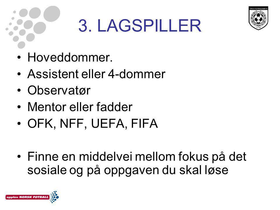 3. LAGSPILLER •Hoveddommer.
