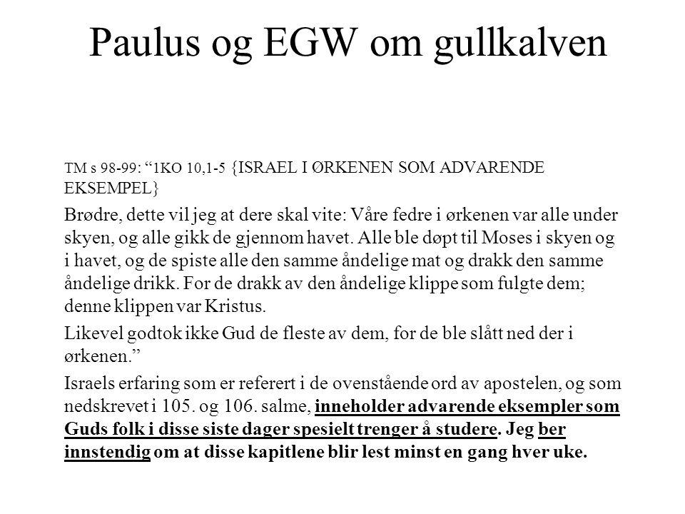 """Paulus og EGW om gullkalven TM s 98-99 : """" 1KO 10,1-5 {ISRAEL I ØRKENEN SOM ADVARENDE EKSEMPEL} Brødre, dette vil jeg at dere skal vite: Våre fedre i"""