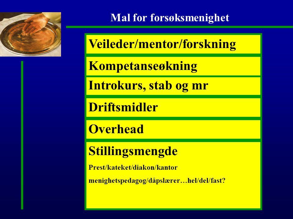 Mal for forsøksmenighet Stillingsmengde Prest/kateket/diakon/kantor menighetspedagog/dåpslærer…hel/del/fast.
