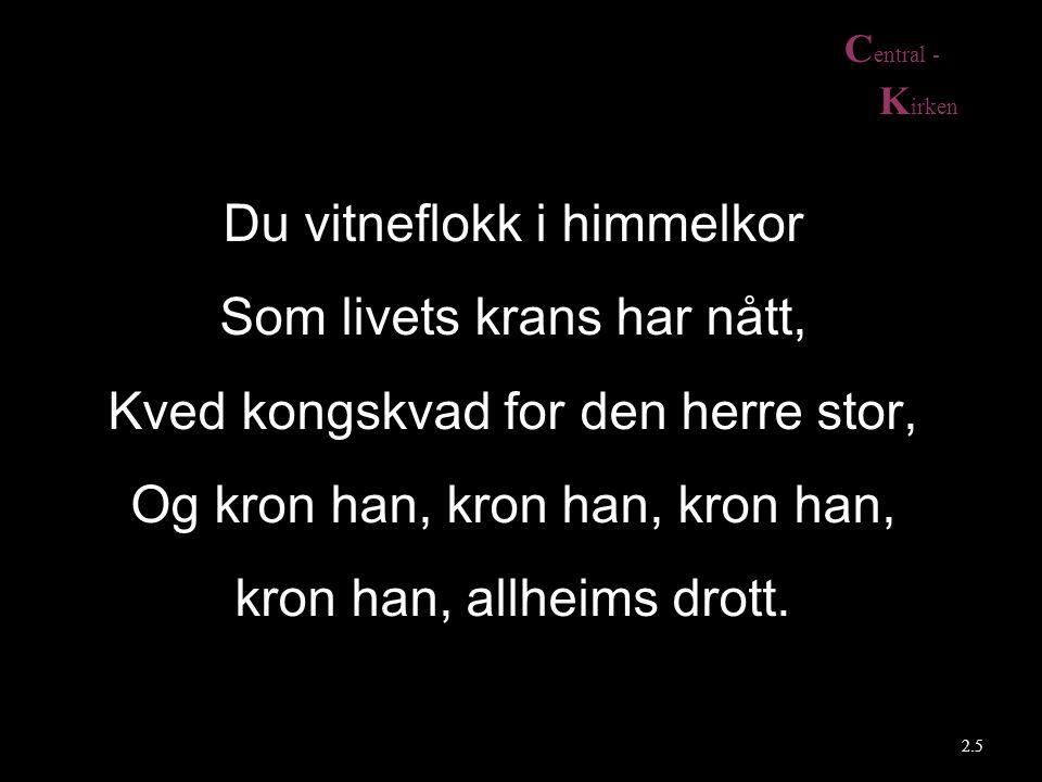 C entral - K irken 2.6 Å Majestet, eg bøyer kne Eg legg mitt alt, mi ære, ned I opphøyd prakt, går ei min veg Mitt liv for deg, min Majestet.