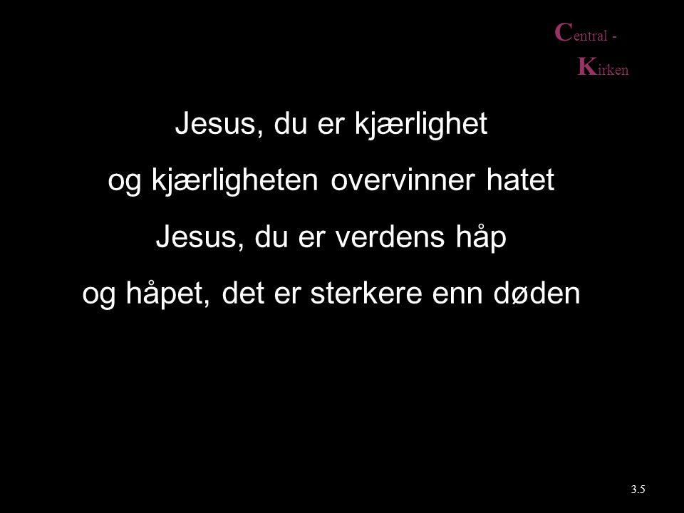 C entral - K irken Jesus, du er kjærlighet og kjærligheten overvinner hatet Jesus, du er verdens håp og håpet, det er sterkere enn døden 3.5