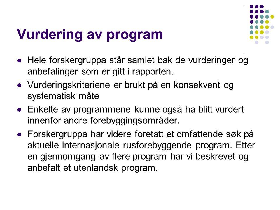 Program med dokumenterte resultater  Unge og rus  VÆRrøykFRI