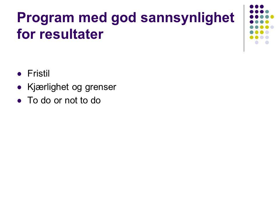 Program med lav sannsynlighet for resultater  Ditt Liv  Fryspunkt  Full kontroll  Hvem blir Norgesmester .