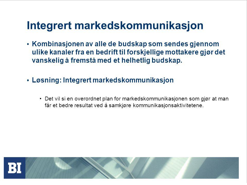 Integrert markedskommunikasjon • Kombinasjonen av alle de budskap som sendes gjennom ulike kanaler fra en bedrift til forskjellige mottakere gjør det