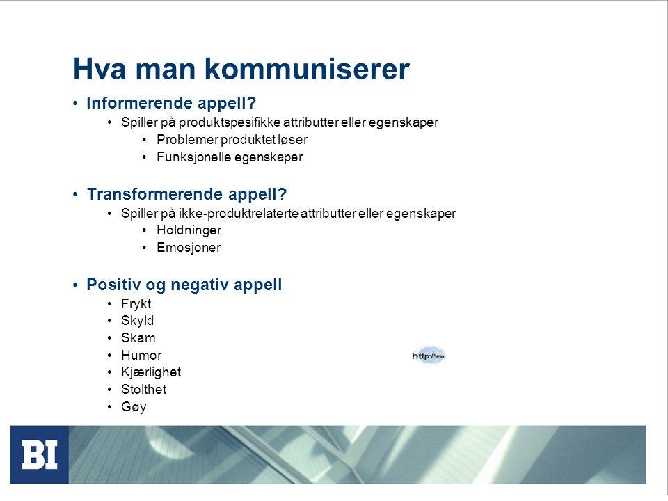 Hva man kommuniserer • Informerende appell? • Spiller på produktspesifikke attributter eller egenskaper • Problemer produktet løser • Funksjonelle ege