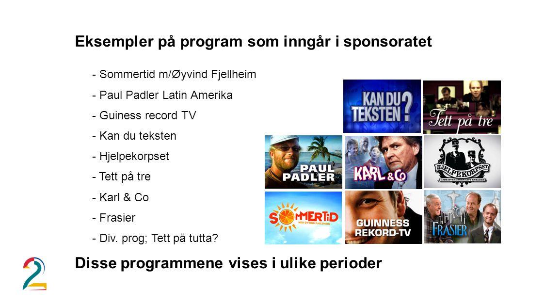 Eksempler på program som inngår i sponsoratet - Sommertid m/Øyvind Fjellheim - Paul Padler Latin Amerika - Guiness record TV - Kan du teksten - Hjelpekorpset - Tett på tre - Karl & Co - Frasier - Div.