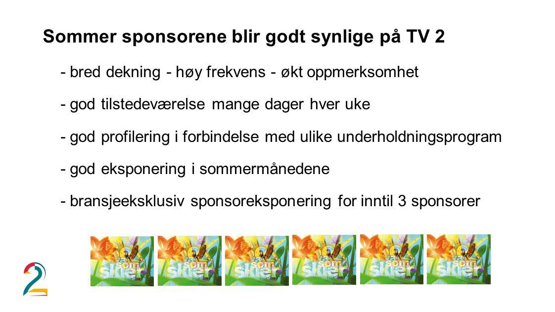 Sommer sponsorene blir godt synlige på TV 2 - bred dekning - høy frekvens - økt oppmerksomhet - god tilstedeværelse mange dager hver uke - god profilering i forbindelse med ulike underholdningsprogram - god eksponering i sommermånedene - bransjeeksklusiv sponsoreksponering for inntil 3 sponsorer