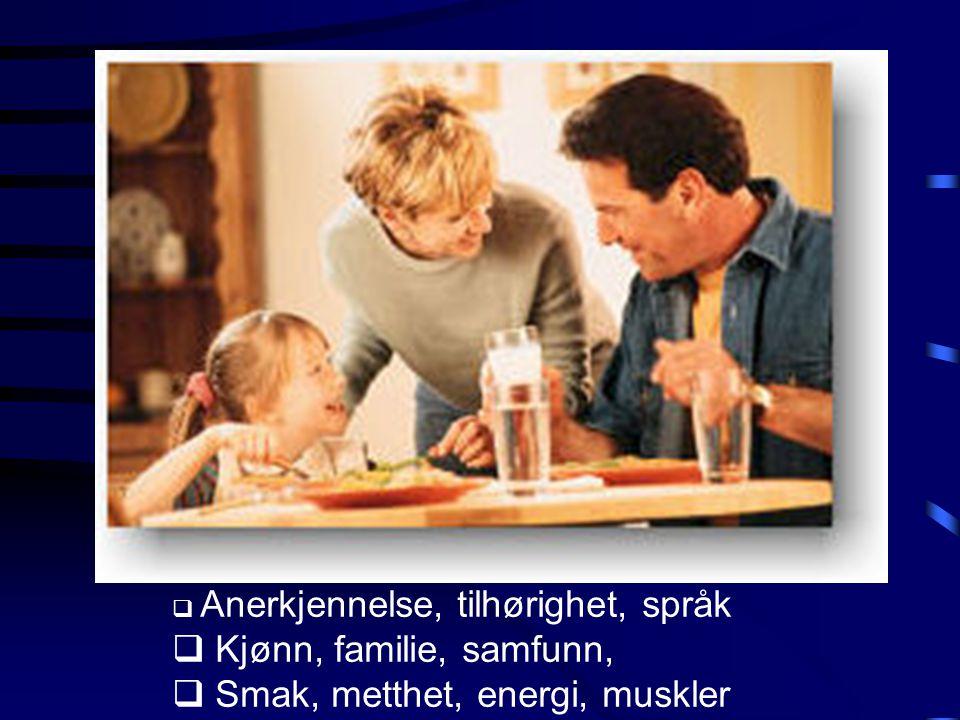  Anerkjennelse, tilhørighet, språk  Kjønn, familie, samfunn,  Smak, metthet, energi, muskler
