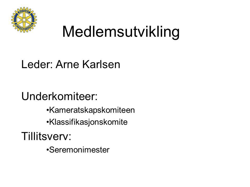 Medlemsutvikling Leder: Arne Karlsen Underkomiteer: •Kameratskapskomiteen •Klassifikasjonskomite Tillitsverv: •Seremonimester