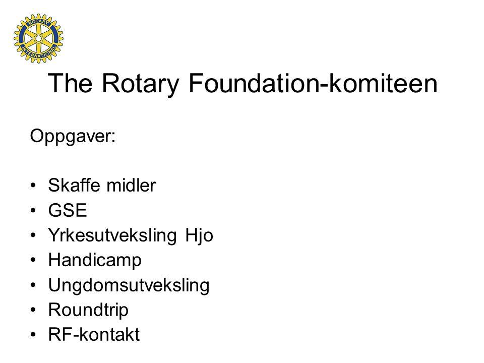 The Rotary Foundation-komiteen Oppgaver: •Skaffe midler •GSE •Yrkesutveksling Hjo •Handicamp •Ungdomsutveksling •Roundtrip •RF-kontakt