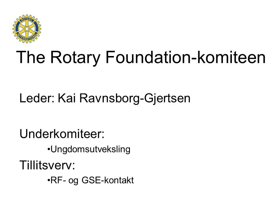 The Rotary Foundation-komiteen Leder: Kai Ravnsborg-Gjertsen Underkomiteer: •Ungdomsutveksling Tillitsverv: •RF- og GSE-kontakt