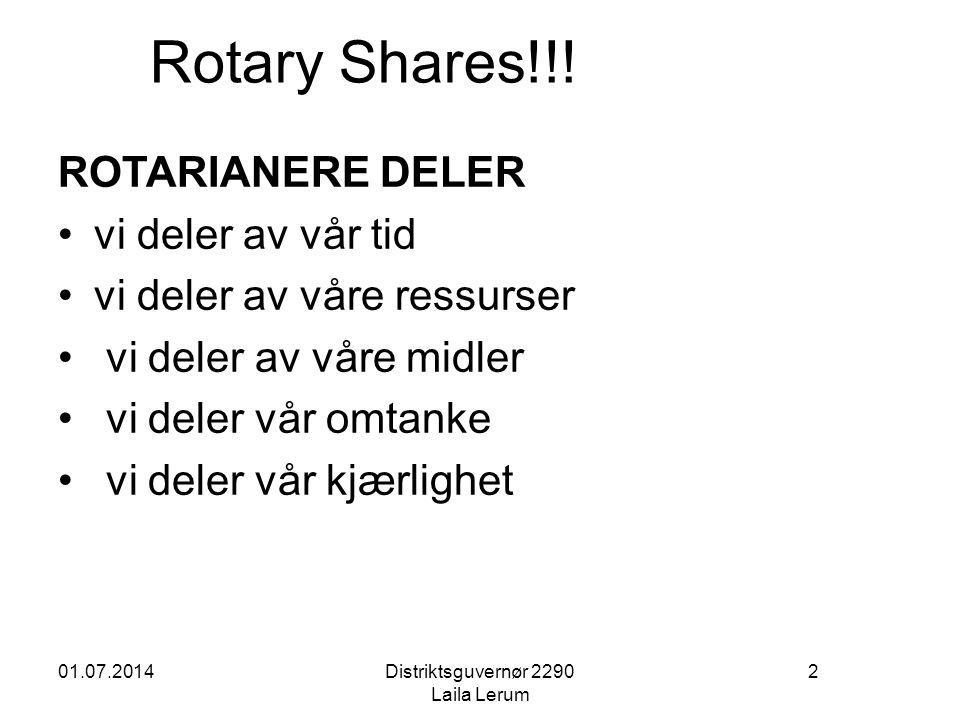 01.07.2014Distriktsguvernør 2290 Laila Lerum 2 Rotary Shares!!! ROTARIANERE DELER •vi deler av vår tid •vi deler av våre ressurser • vi deler av våre