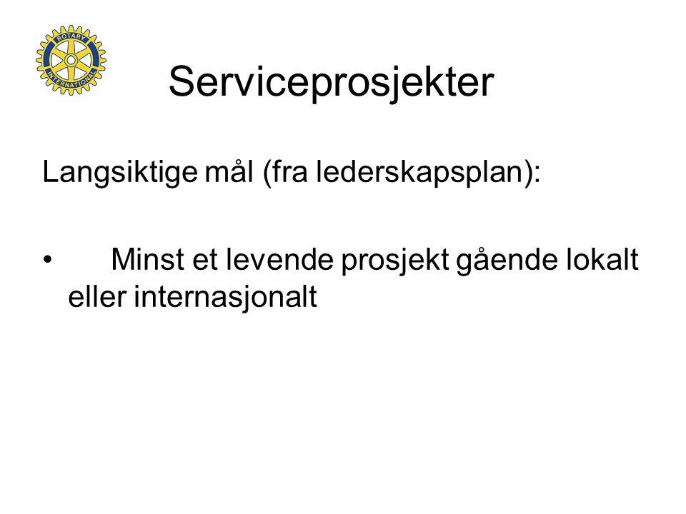Serviceprosjekter Langsiktige mål (fra lederskapsplan): • Minst et levende prosjekt gående lokalt eller internasjonalt