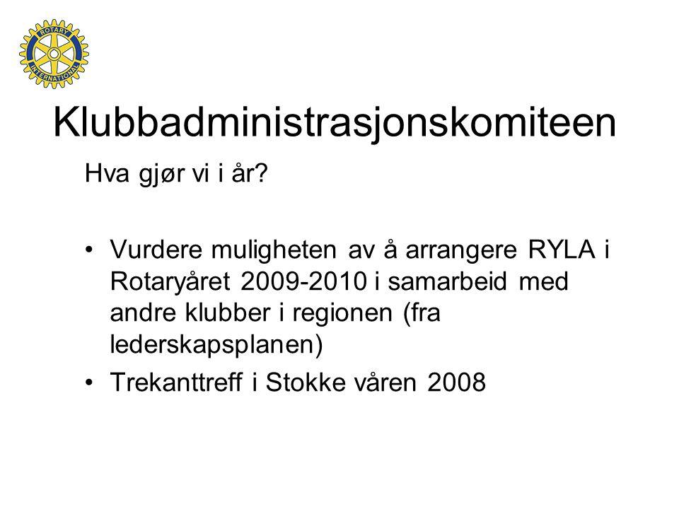 Klubbadministrasjonskomiteen Hva gjør vi i år? •Vurdere muligheten av å arrangere RYLA i Rotaryåret 2009-2010 i samarbeid med andre klubber i regionen