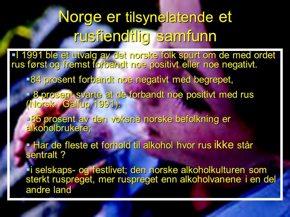  I 1991 ble et utvalg av det norske folk spurt om de med ordet rus først og fremst forbandt noe positivt eller noe negativt.  84 prosent forbandt no