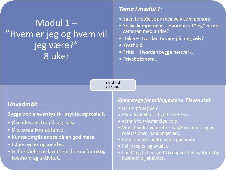 """Modul 1 – """"Hvem er jeg og hvem vil jeg være?"""" 8 uker Tema i modul 1: •Egen forståelse av meg selv som person: •Sosial kompetanse – Hvordan vil """"jeg"""" h"""