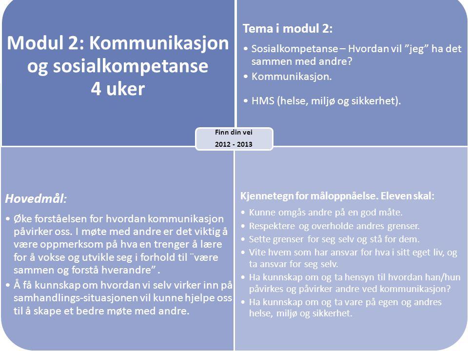 """Modul 2: Kommunikasjon og sosialkompetanse 4 uker Tema i modul 2: •Sosialkompetanse – Hvordan vil """"jeg"""" ha det sammen med andre? •Kommunikasjon. •HMS"""