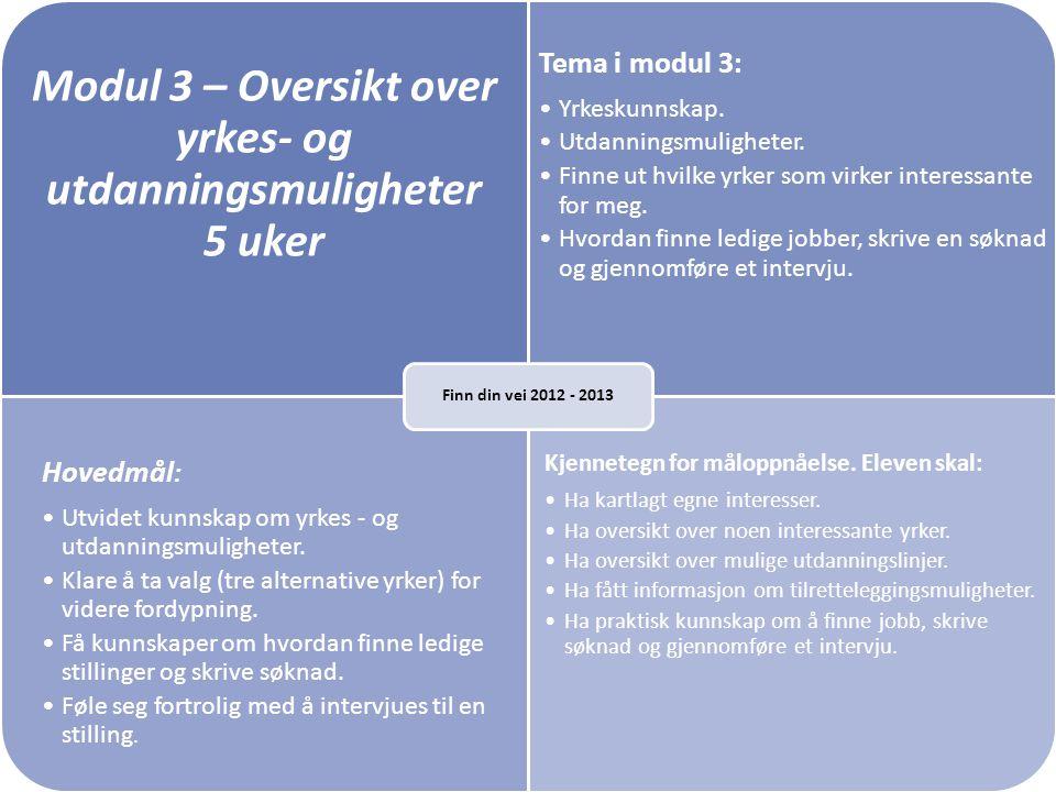 Modul 3 – Oversikt over yrkes- og utdanningsmuligheter 5 uker Tema i modul 3: •Yrkeskunnskap. •Utdanningsmuligheter. •Finne ut hvilke yrker som virker