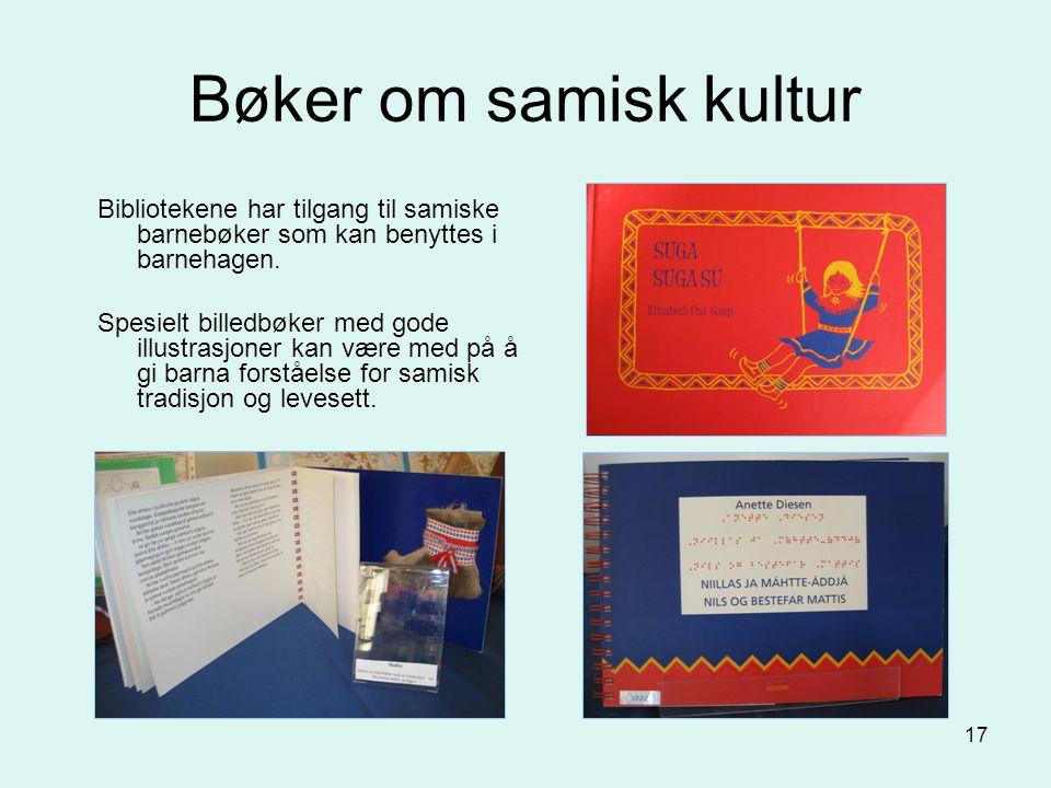 17 Bøker om samisk kultur Bibliotekene har tilgang til samiske barnebøker som kan benyttes i barnehagen. Spesielt billedbøker med gode illustrasjoner