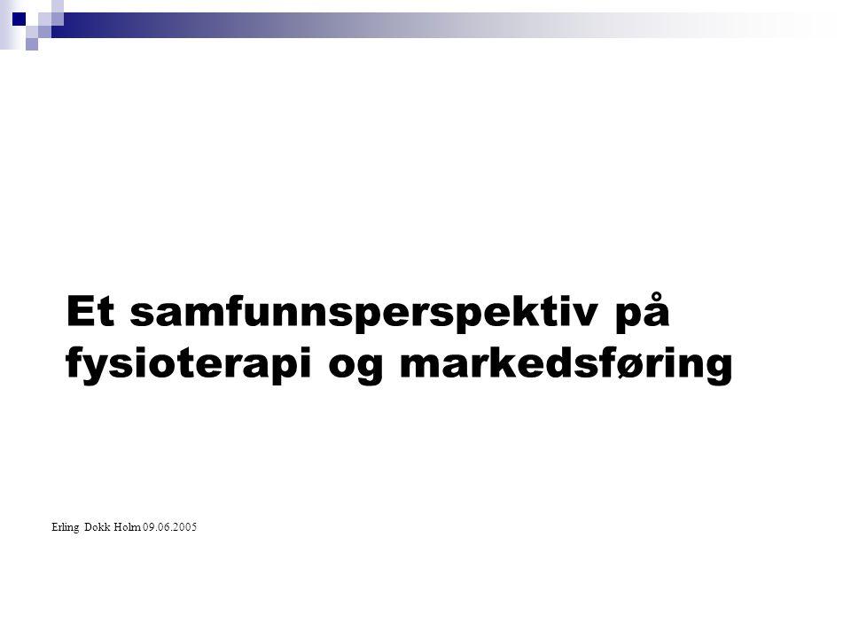 Et samfunnsperspektiv på fysioterapi og markedsføring Erling Dokk Holm 09.06.2005