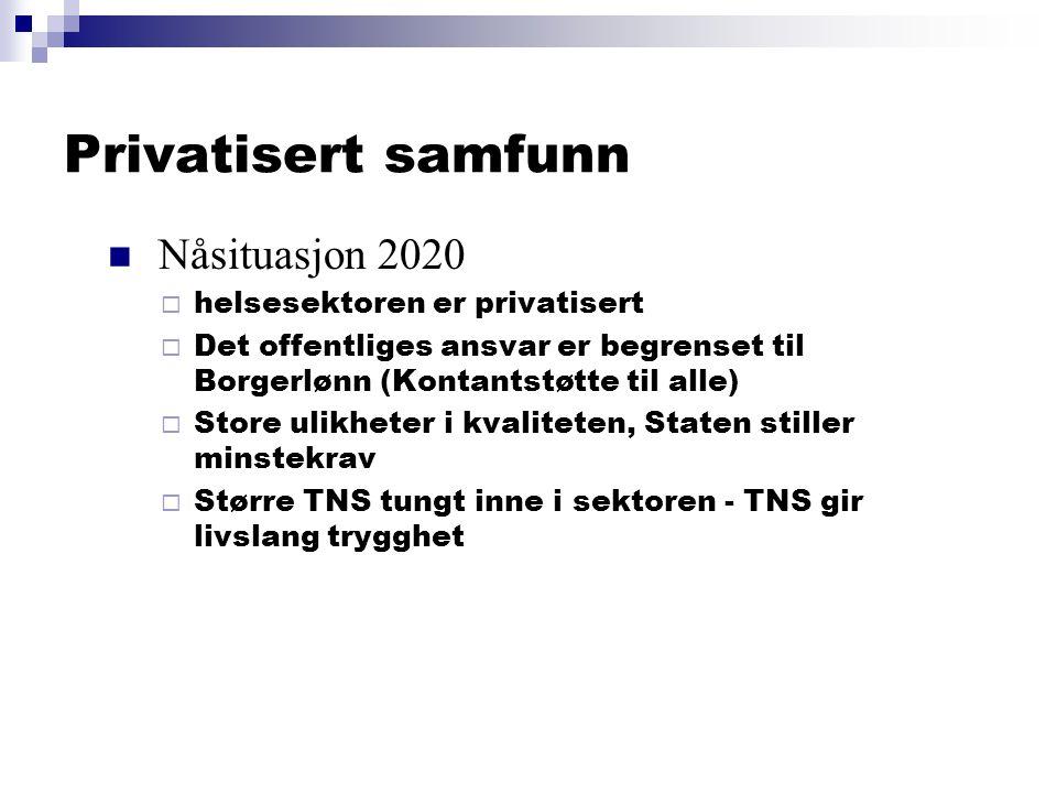 Privatisert samfunn  Nåsituasjon 2020  helsesektoren er privatisert  Det offentliges ansvar er begrenset til Borgerlønn (Kontantstøtte til alle)  Store ulikheter i kvaliteten, Staten stiller minstekrav  Større TNS tungt inne i sektoren - TNS gir livslang trygghet