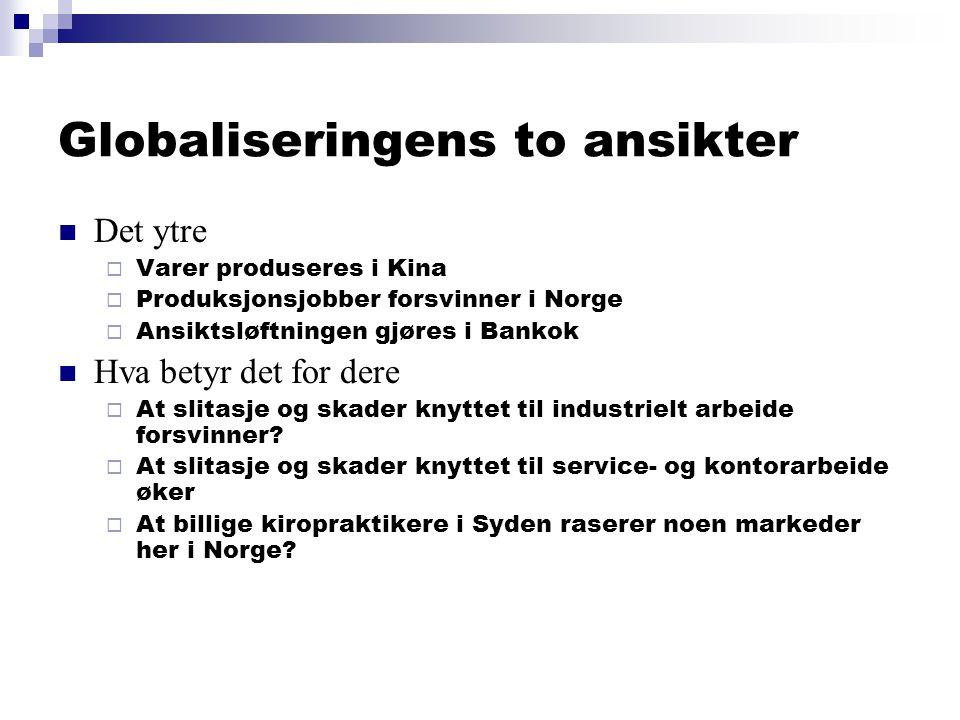 Globaliseringens to ansikter  Det ytre  Varer produseres i Kina  Produksjonsjobber forsvinner i Norge  Ansiktsløftningen gjøres i Bankok  Hva betyr det for dere  At slitasje og skader knyttet til industrielt arbeide forsvinner.