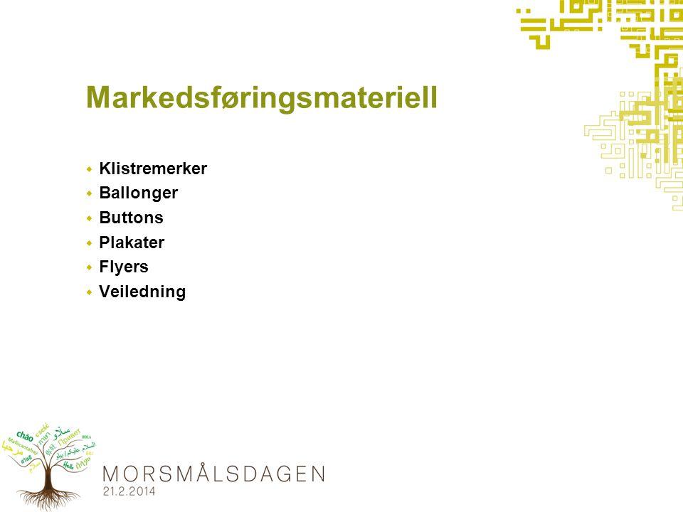 Markedsføringsmateriell  Klistremerker  Ballonger  Buttons  Plakater  Flyers  Veiledning