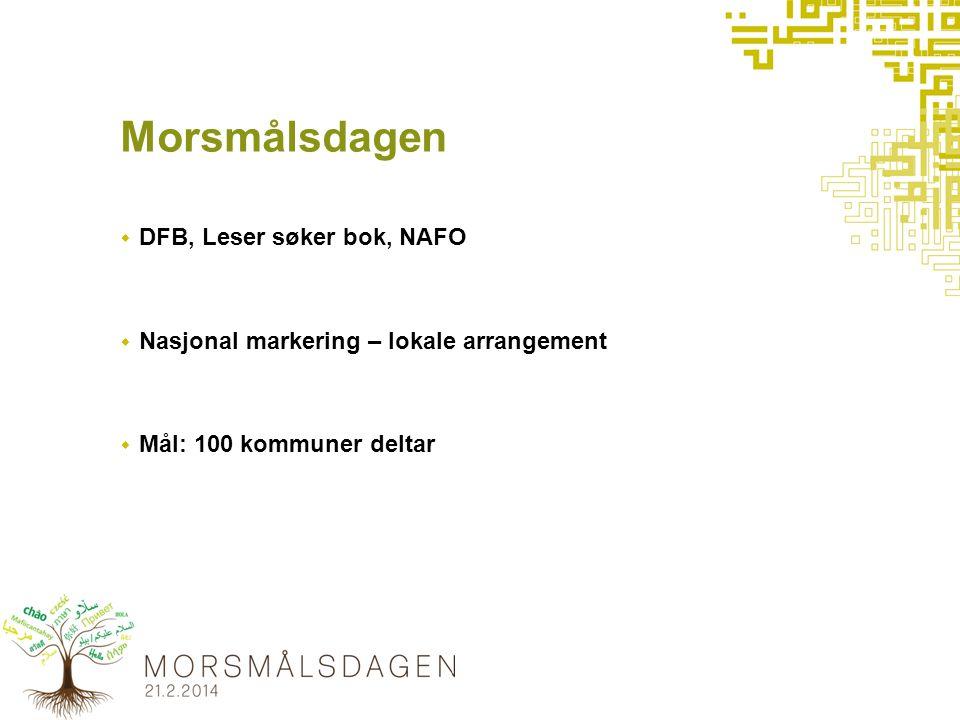 Morsmålsdagen  DFB, Leser søker bok, NAFO  Nasjonal markering – lokale arrangement  Mål: 100 kommuner deltar