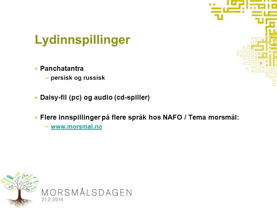 Lydinnspillinger  Panchatantra –persisk og russisk  Daisy-fil (pc) og audio (cd-spiller)  Flere innspillinger på flere språk hos NAFO / Tema morsmål: –www.morsmal.nowww.morsmal.no